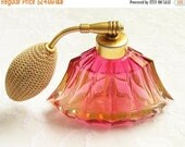 SPRiNG SaLe Vintage Pink Luster Glass Perfume Bottle Atomizer 1940s 1950s Bulb
