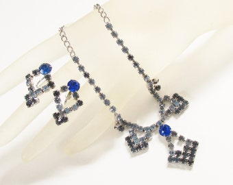 Vintage Coro Blue Rhinestone Necklace Dangle Earrings signed 1960s