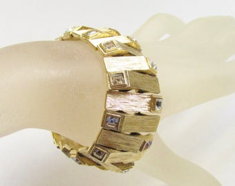 Vintage Chunky Modern Clear Rhinestone Gold Link Bracelet