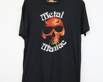 Metal Maniac Shirt Vintage tshirt 1980s Demonic Skull Thrash Black Heavy Metal hard rock and roll metalhead rocker 80s