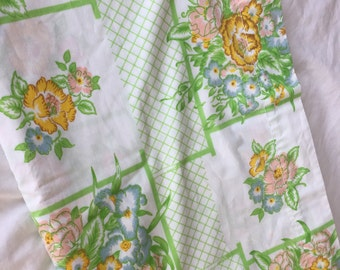 Vintage Full Flat Bedsheet- 1970s Green, Yellow, Orange, Pink and Blue Floral