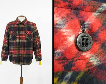 Vintage CPO Shirt NOS Flannel Wool Anchor Button Up Jacket - Size Large