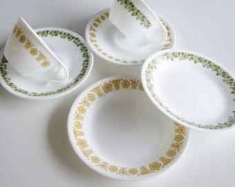 Vintage Corelle, Butterfly Gold, Crazy Daisy, Tea Set, Tea Services, Dish Set for 2, Corelle dishes, 6 pieces, tea cup and saucer, plates