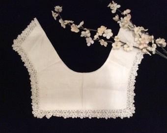 Vintage Irish  Lace and Cotton Collar, Vintage Dress Collar, Vintage Blouse Collar, Sweater Collar