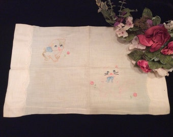 Vintage Handmade Child's Pale Pink Pillow Boolster with Embroidered Puppy and Kitten, Vintage Embroidered Baby Pillow Cover