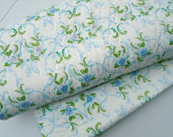 Gorgeous Blue Rose Vintage Quilt / Padded Bed Spread / Twin Bedspread / Cannon Royal Family / Aqua Blue Roses / Twin Coverlet /Girls Bedding