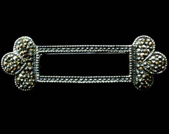 Sterling Silver Onyx MARCASITE BAR Pin 925