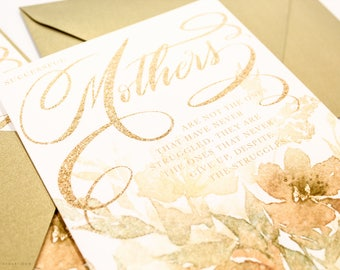 Mother's Day Card - Gold Watercolor Florals - with Gold Leaf Euro Flap Envelope