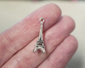 10 Metal Dark Antique Silver Eiffel Tower Charms - 24mm