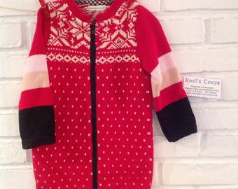 Red cotton sweater coat, baby girl, toddler coat, girl's sweater coat with snowflake motif,striped cotton sweater, ribbed collar, handmade