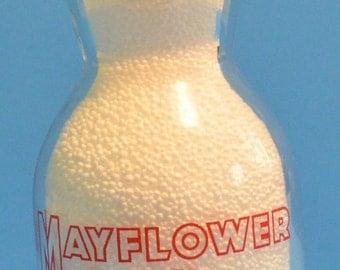 Mayflower cream top pint milk bottle, cream top milk bottle, vintage pint bottle