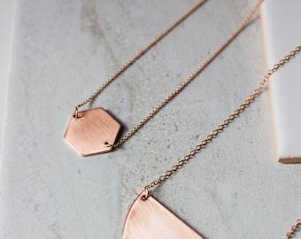 Copper Hexagon Necklace - Modern Handmade Jewellery