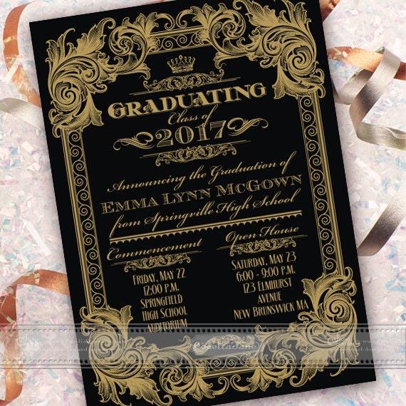 graduation announcement, graduation invitation, black and gold graduation, formal graduation announcement, class of 2017, IN547