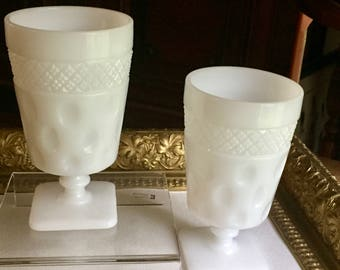 Vintage Opal Milk Glass Iced Tea Goblets by McKee Crosshatch and Dot Pattern (#9)
