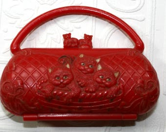 Vintage Hard Plastic Toy Purse-Cat Motif