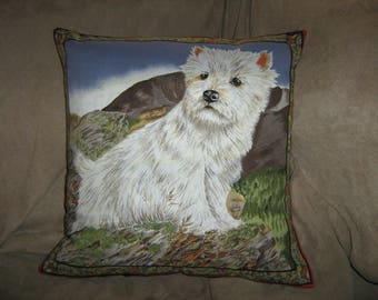 WESTHIGHLAND TERRIER/WESTIE Pillow Cover Rare and Out of Print signed by artist Valerie Briggs