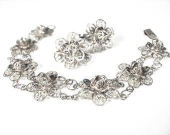 1930's Sterling Filigree Bracelet and Earring Set, Floral Set, Filigree Flowers, Mexico, Spun Silver, Eagle Mark, 925 Sterling, Excellent