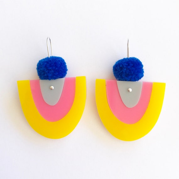Yoo Beauty Pom Drops - Happy - Laser Cut Acrylic Earrings - Each To Own