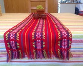 Mexican Table Runner - Red Aztec Home Decor - Outdoor Party, Fiesta Tableware, Tribal Wedding Linens, and Bridal Shower Decoration