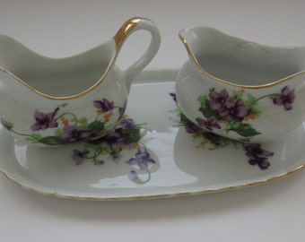 Vintage Sugar Creamer Tray Set by Norcrest Violets Purple Flowers Gold Trim Entertaining Fine China Serving Collectible Gift