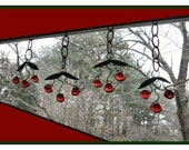 """Vintage 1970s Handmade Christmas Xmas Ornament Decoration; Suncatcher; Cherry Clusters; Copper Leaves; Red Marbles; 4"""" x 4"""""""