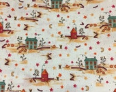 """1 Yard of Fall Print Fabric """"Harvestime"""" by Little Quilts 100% Cotton 44"""" Wide - Peter Pan Fabrics - Green, Red, Orange, Brown"""