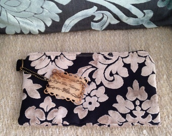 10 in Clutch in Black and Beige Damask Cut Velvet Mini Mia 10 inch Clutch Ready To Ship