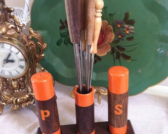 Salt pepper fondue set fondue fork holder mid crntury kitch fabulous fondue accessory Brady Bunch dinner party