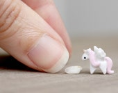 Tiny miniature clay unicorn - pink and gold
