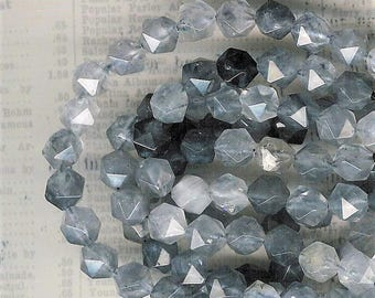 8mm Faceted Cloudy Quartz Stone, 7.5 inch Strand, 8mm Gray Quartz, 8mm Faceted Stone, 8mm Star Cut Stone, Julie's Beads, Faceted Gray Stone