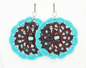 Boho earrings Turquoise brown Round handmade crochet earrings Textured beaded jewelry Bold chunky handcrafted festival fashion
