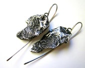 Thou Shalt Be Strong - edgy asymmetrical primitive gothic abstract textured reticulated sterling silver charm earrings