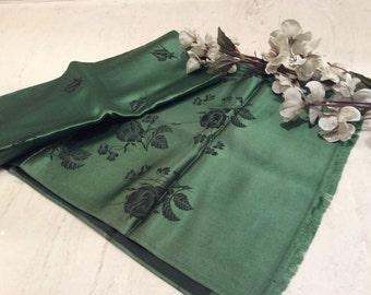 Vintage French Rayon Satin Jacquard Green Scarf, Vintage Long Scarf, Vintage Women's Scarf
