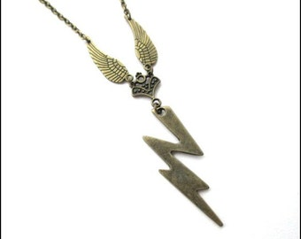 Heavenly lightning necklace angel wing jewelry antique brass bronze, steampunk, zeus lightning bolt necklace, simple necklace thunderbolts