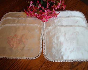 Six Doilies Placemats White Silky Fabric with Pink Floral Stamped Design Crochet Trim Vintage Table Linens