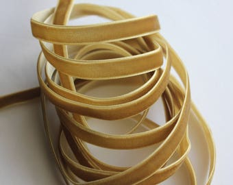 "3/8"" Velvet Ribbon - Golden Tan - 5 yards"