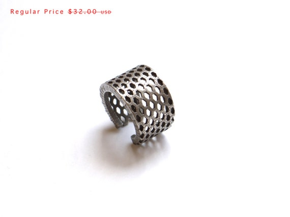 3d printed modern industrial jewelry,- Perforated Elongated Honeycomb Ring - stainless steel ring, fashion gifts, unique rings