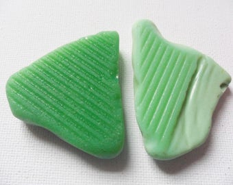 2 large flat green milk glass - Lovely English beach find pieces