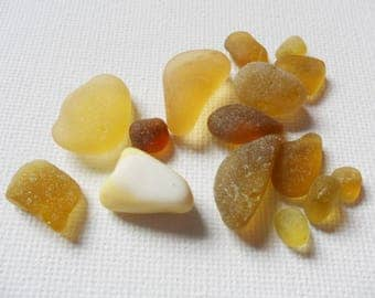 15 yellow and amber colour sea glass - English beach glass