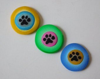 Paw Print Magnets, polymer clay refrigerator magnets, kitchen magnets