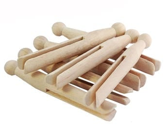 10 traditional wooden dolly pegs for craft, peg dolls and laundry! Clothespins, clothes pegs, doll pins for making peg people