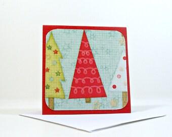 Christmas Insert Cards, Christmas Trees Mini Cards, Red, Set of 8, White Envelopes, Mini Cartes Noel, Cartes Sapin de Noel, Rouge, 2.5 x2.5