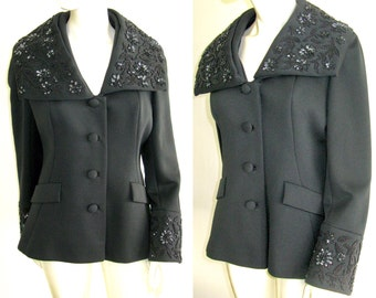Gorgeous Vintage 1960s Lilli Ann Black Evening Jacket with Sequin and Bead Trim on Collar and Cuffs Size Large