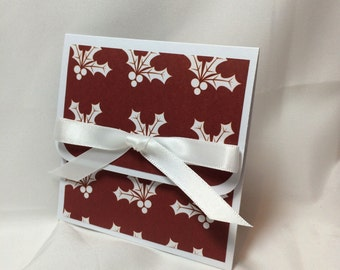 Burgundy and White Holly Christmas Gift Card Holder