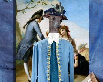 Italian Greyhound - Iggy ART, Italian Greyhound Portrait, CANVAS  Print, Dog Painting, Custom Dog Art - Portrait By Nobility Dogs