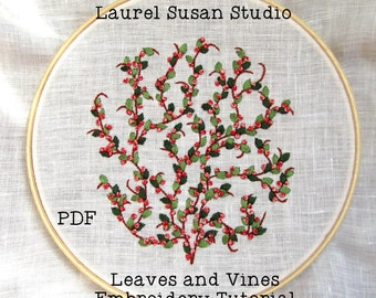 Leaves and Vines Hand Embroidery Tutorial, Pattern PDF Digital, Flowers Peach Summer French Knots