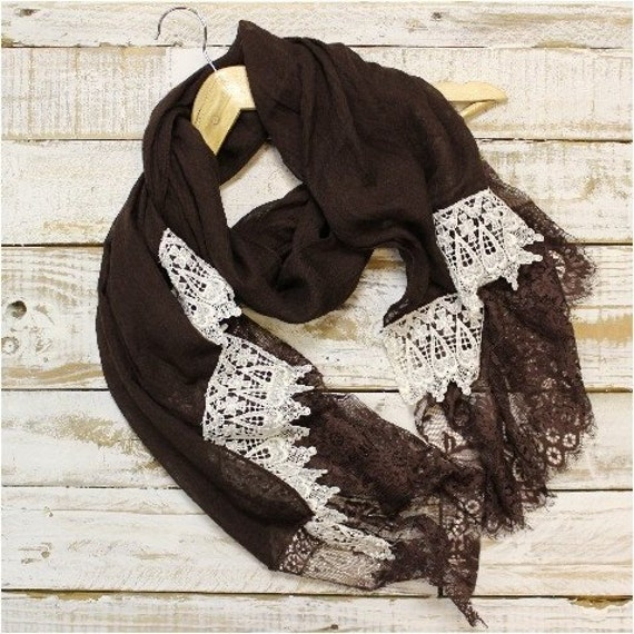 Chocolate brown long lace scarf, ivory lace trim. OOAK, long, scarf