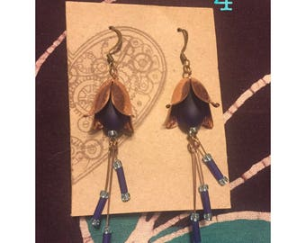 Metal Flower Drop Earrings