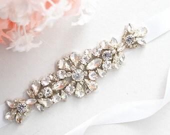 Bridal Crystal, Pearl sash. Rhinestone Applique Wedding Belt ,vintage sash belt