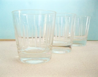 Vintage Clear Glasses Mid Century barware rocks highball Madmen design summer entertaining etched glass design set 3 1950 Hollywood Regency